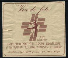 Rare //Etiquette De Vin // Gymnastique // Salagnin, FSG St.Prex - Etiquettes