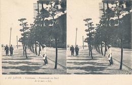 AU JAPON - N° 5 - YOKOHAMA - PROMENADE AU BORD DE LA MER (CARTE STEREOSCOPIQUE) - Cartes Stéréoscopiques