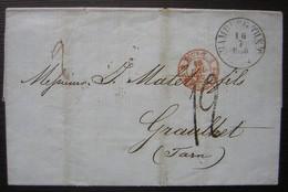 1860 Marque D'entrée Rouge Tour T 2 Valenciennes Sur Une Lettre De Hambourg (Hamburg Allemagne), Pour Graulhet (Tarn) - Marcophilie (Lettres)