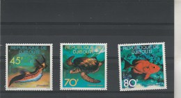 Djib0uti Yvert Série 465 à 467 ** Neufs Sans Charnière - Faune Marine Tortue Poisson - Djibouti (1977-...)