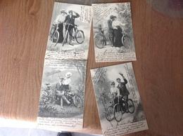 Velo Fantaisies 4cartes Cycliste - Cartes Postales