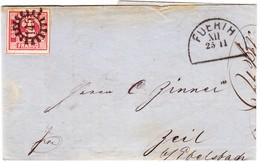 1866 Rechnung Der Cafe Surrogat Fabrik Mit Mühlradstempel Nr. 145 Auf 3 Kreuzer Marke; Halbkreisstempel Fuerth Und Zeil - Bayern