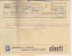 TELEGRAMMA CON PUBBLICITA' OLIVETTI 1961 - 6. 1946-.. Repubblica