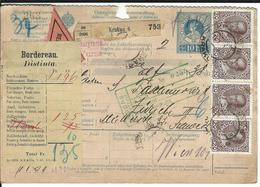 Österreich Nachnahme-Paketkarte Mi 140, 144, 5x146 Krakau 19.1.11 Nach Zürich - Entiers Postaux