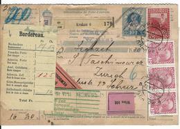 Österreich Nachnahme-Paketkarte Mi 140, 143, 5x144, 151 Krakau 28.5.11 Nach Zürich - Entiers Postaux