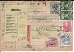 Österreich Nachnahme-Paketkarte Mi 140, 145, 2x150 Krakau 22.3.11 Nach Zürich - Postwaardestukken