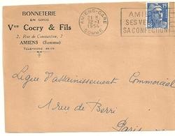 SOMME - Dépt N° 80 = AMIENS GARE 1954 = FLAMME à DROITE = SECAP ' VELOURS / CONFECTION ' + En-tête Bonneterie COCRY - Postmark Collection (Covers)