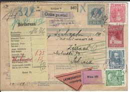 Österreich Nachnahme-Paketkarte Mi 142, 143, 145, 149, 151 Krakau 30.3.11 Nach Zürich - Postwaardestukken
