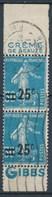 France-Semeuse Surchargée 25c Sur 30c  Bleu YT 217d Paire Verticale Pub Gibbs Obl. - 1906-38 Sower - Cameo