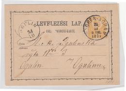 Hungary Croatia Postal Stationery Postcard Levelezesi Lap Travelled 1871 Zagreb To Ogulin B181201 - Croatia