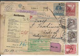 Österreich Nachnahme-Paketkarte Mi 140,145, 2x146, 151 Krakau 13.4.10 Nach Zürich - Entiers Postaux