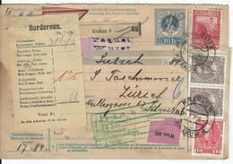 Österreich Nachnahme-Paketkarte Mi 3x140,145, 2x146, 151 Krakau 2.10.10 Nach Zürich - Postwaardestukken