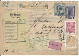 Österreich Nachnahme-Paketkarte Mi 143, 144, 153 Krakau 27.12.10 Nach Zürich - Postwaardestukken