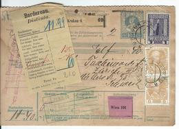 Österreich Nachnahme-Paketkarte Mi 2x143, 153 Krakau 14.12.10 Nach Zürich - Postwaardestukken