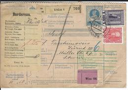 Österreich Nachnahme-Paketkarte Mi 145, 153 Krakau 29.5.10 Nach Zürich - Postwaardestukken