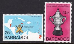 BARBADOS - 1976 WORLD CRICKET CUP SET (2V) FINE MNH ** SG 559-560 - Barbades (1966-...)