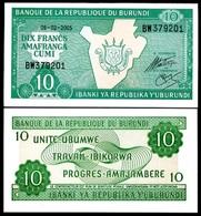 Burundi 10 Francs 2005 P-33 UNC - Burundi