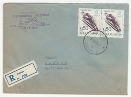 Yugoslavia Montenegro Letter Cover Travelled Registered 1968 Cetinje To Zagreb B181201 - Montenegro