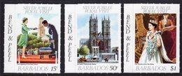 BARBADOS - 1977 SILVER JUBILEE ROYAL VISIT BEND & PEEL SET (3V) FINE MNH ** SG 590-592 - Barbados (1966-...)