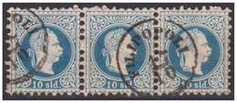 AUSTRIA / ÖSTERREICH - LEVANT - 1876 (3 X 10 SLD - Mi. 4II) : BAND Of 3 STAMPS - STEMPEL : FILIPOPOLI / PLOVDIV (aa249) - Levante-Marken