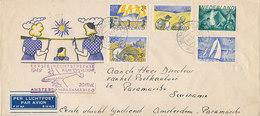 DC-1605 - COVER PHILATELISTENCLUB DUINWIJCK NEDERLAND 1949 - EERSTE KLM VLUCHT AMSTERDAM-PARAMARIBO + RETOURSTEMPEL - Postal History