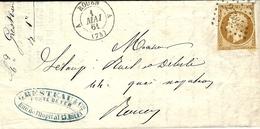 1861- Lettre De ROUEN ,bureau A Cad T15 Affr. N°13 Oblit. Pc 2738 Pour Rouen Courrier LOCAL - Marcophilie (Lettres)