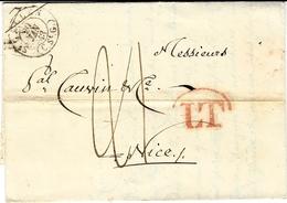 1843- Lettre De ST GALLEN  Pour NICE ( R. De Sardaigne)  L T  Rouge ( Transit Milano) Taxe 21 + 18 Crayon Rouge Au Dos - 1843-1852 Poste Federali E Cantonali