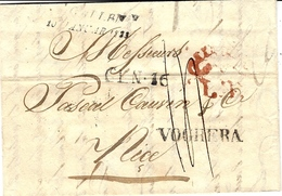 1823- Lettre De ST GALLEN  Pour NICE ( R. De Sardaigne)  L T  Rouge ( Transit Milano)+ VOGHERA - 1843-1852 Poste Federali E Cantonali
