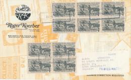 343/24 - USA CHEVAL - Etiquette D' IMPRIME 10 X Timbre Silver Centennial 1959 - Royal Oak Mi. Vers Belgium - Farm