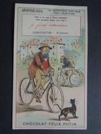 CHROMO Chocolat Félix POTIN. Série  GRAPHOLOGIE.  La Prudence.  Chat Noir.  Les  CYCLES.  BICYCLETTE. VELO - Sin Clasificación