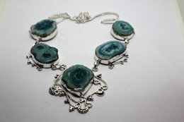 Collana Di Quarzo - Riflessi Dal Celeste Al Verde - Misura 52 Cm - Necklaces/Chains
