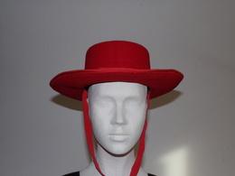 Chapeau Traditionnel Espagnol Cordouan En Feutre Rouge Taille 54 - Habits & Linge D'époque