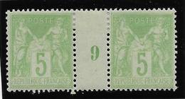 France N°102 - Paire Millésimée 9 - Neuf * Avec Charnière - TB - 1898-1900 Sage (Type III)