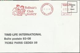 Empreinte Mécanique 1987 EMA Solitair's Club De NANCY Thème Amour, Love - Timbres