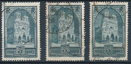 France-Cathédrale De Reims Types I + II +  IV - YT 259 + 259a + 259c Obl - France