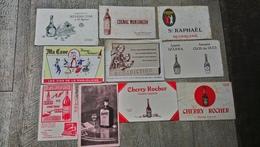 Buvard Lot 10 Buvards St Raphaël Cognac Montangeon Bénédictine Vin Marjolaine Cherry Rocher Alcool - Liqueur & Bière