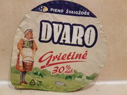Lithuania Litauen Sour Cream 30% 380 Gr. - Milk Tops (Milk Lids)