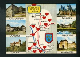 CPM - 18 - LA ROUTE DE JACQUES COEUR - MULTI-VUES ET CARTE - - France