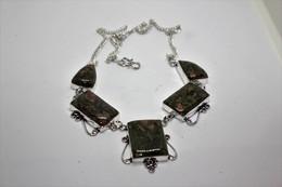 Collana Di Unakite Verde Scuro Con Riflessi Marrone -  Misura 51 Cm - Necklaces/Chains