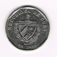 /  CUBA  1  PESO   2007 - Cuba