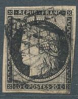 N°3 CERES NOIR SUR CHAMOIS - 1849-1850 Cérès
