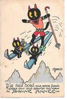 Illustrator Geo - Cat, Chat, Katze, Gatto, Auf Skiern, On Skis, Sur Des Skis, Chaton , Kitten, Black Cat - Chats