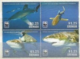 (WWF-535) W.W.F. Grenada MNH Perf Stamps 2014 : Whitetip Shark / Fish - W.W.F.