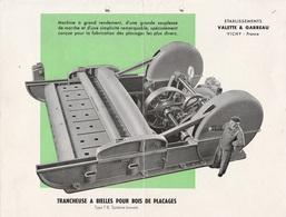 - 03 - VICHY - 4 Feuillets 210mm X 280mm Recto-verso établissements VALETTE & GARREAU Pour Machines à Bois. - Publicités