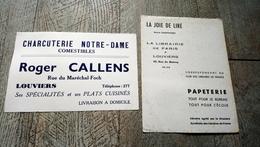 Buvard Lot 2 Buvards Charcuterie Notre Dame Roger Callens Papeterie Louviers - Buvards, Protège-cahiers Illustrés
