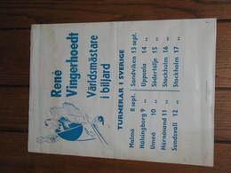 Tournée En Suède Du Joueur De Billard Belge ( Carambole) René VINGERHOET D' Anvers- Affiche ( +/- 50 X 35 Cm) (jm) - Posters