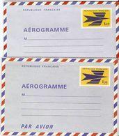 France 1970/5 - Emblème PTT - 2 Aérogrammes Neufs - AER1002/3 - Aérogrammes