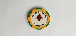 Aspers Casino Poker London UK 1 GBP Casino Chip Jeton - Casino