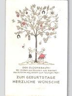 Glücksbaum Embossed Postcard Sent 1938 With German Swastika Machine Stamp - Cumpleaños