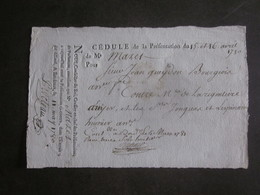 1780 CEDULE BORDEAUX / BONS RECUS DOCUMENTS PERIODE REVOLUTION ASSIGNAT - Assignats & Mandats Territoriaux